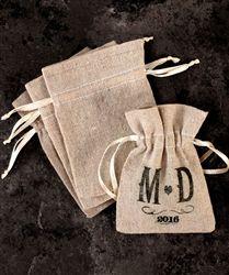 Mini Linen Drawstring Pouch Favor Bags