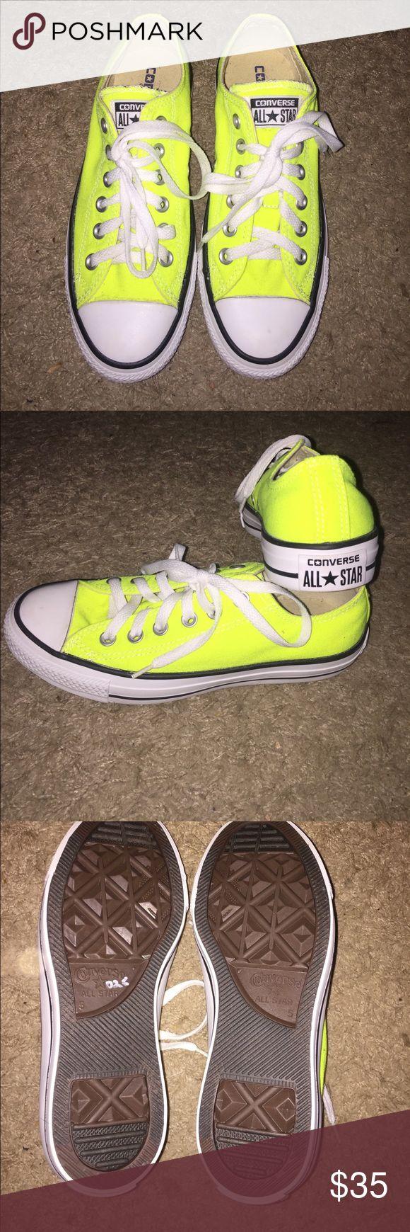 Neon Yellow All Star Converse UNWORN neon, highlighter yellow All Star Converse!! Size 5 in Men's, Size 7 in Women's Converse Shoes Sneakers