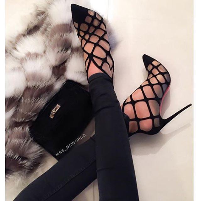 Love these Christian Louboutins Araknene suede \u0026amp; mesh boots ...