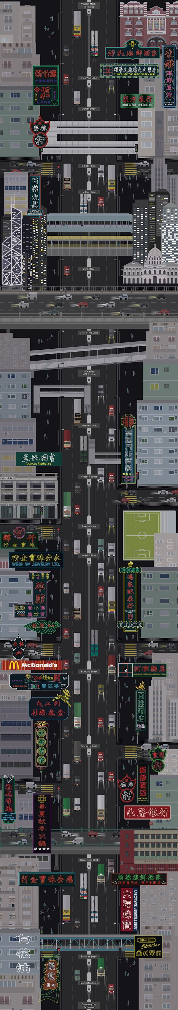 Hong Kongs neon signs x tram interactive map project http://www.hongkongbuzz.com/