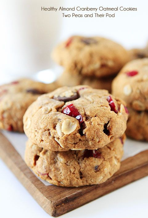 Healthy Almond Cranberry Oatmeal Cookie Recipe on twopeasandtheirpod.com LOVE these healthy cookies! They are vegan too!
