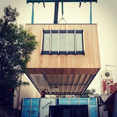 Ricmond installation of architecturally designed pre-fabricated dwelling. #archiblox #architecture #prefab #modernprefab #modulardesign #archdaily #australianarchitecture #richmond Photographer: Phil Einwick @phileinwick