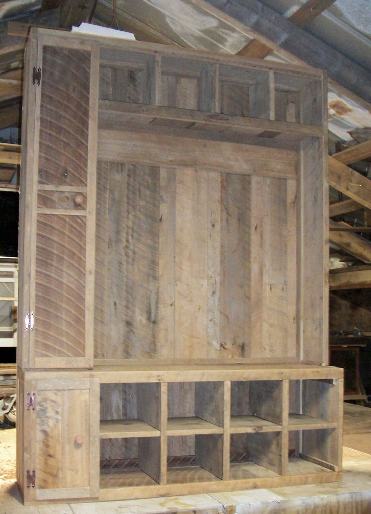 Barn Wood Hall Tree before hooks or finish applied