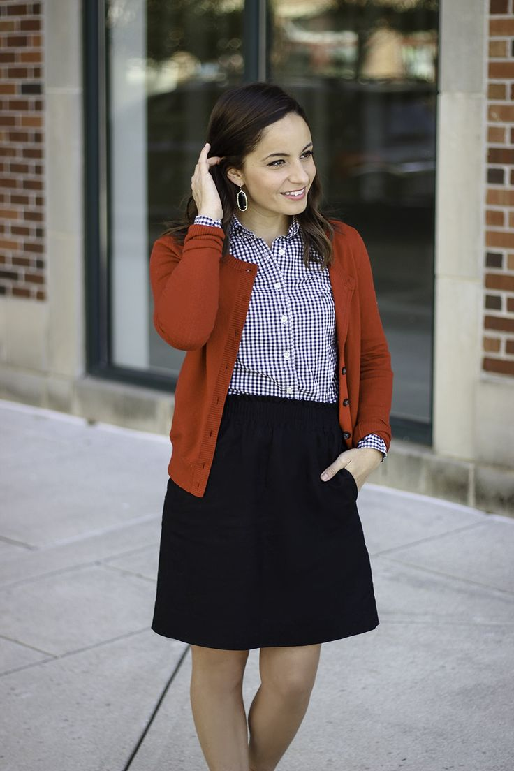 J. Crew Factory Sidewalk Skirt, Gingham top outfit