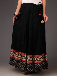 Buy Black Red White crinkle Syahi Begar with Rogan Border Panelled Cotton Skirt by Jaypore Apparel Pants & Skirts Intricate Impressions Statement Earrings and Block Printed Online at Jaypore.com