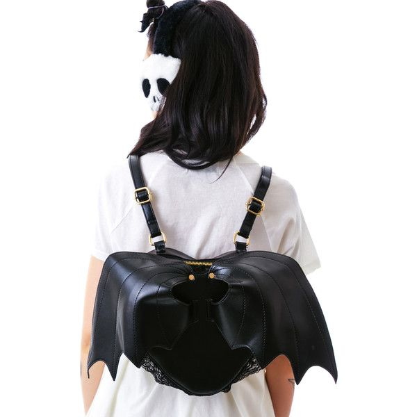 Dolls Kill Bat Outta Hell Backpack (€45) ❤ liked on Polyvore featuring bags, backpacks, genuine leather bag, leather backpack bag, black bag, black leather knapsack and real leather backpack