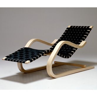 Alvar Aalto Lounge Chair 43  Birch, natural lacquered. Seat with linen webbing or black leather belts.  1936-37.  Artek