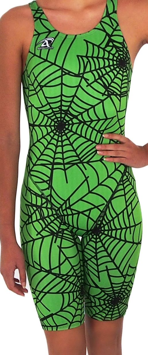 Lime green spider racing girls proback kneeskins available from www.swimspiration.co.nz