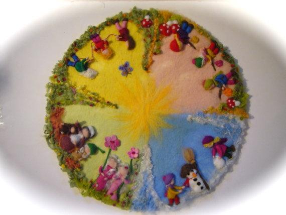 XXLSeasonable circle PicturetapestryWall hangingWet by FilzArts, $195.00