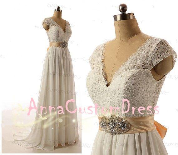 Cheap Cap Sleeves V-neck V-back Long Ivory Lace Chiffon Wedding Dress with Champagne Sash