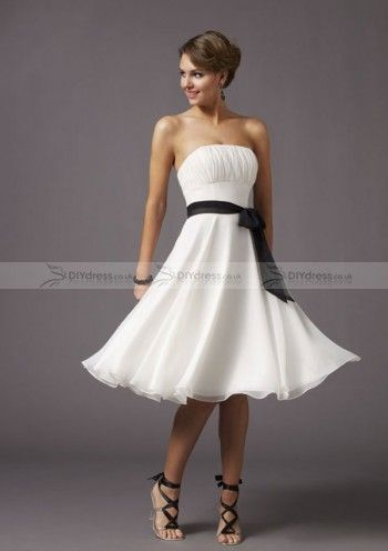 A-line Strapless White Chiffon Black Sash Homecoming Dresses
