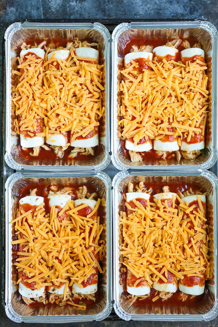 Freezer Chicken Enchiladas - Simply assemble your enchiladas ahead of time and freeze. IT GOES STRAIGHT FROM FREEZER TO OVEN! No dishes required!