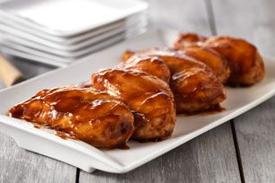 Oven BBQ Chicken Breasts recipe. Made it for Sunday lunch...Very good!  I sprinkled chicken with Rendevous dry rub before I put the sauce on for added flavor and used Jack Daniels BBQ sauce.