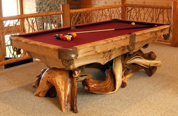 Rustic Pool Table For The Game Room. Find This Pin And More On Log  Furniture Ideas ...