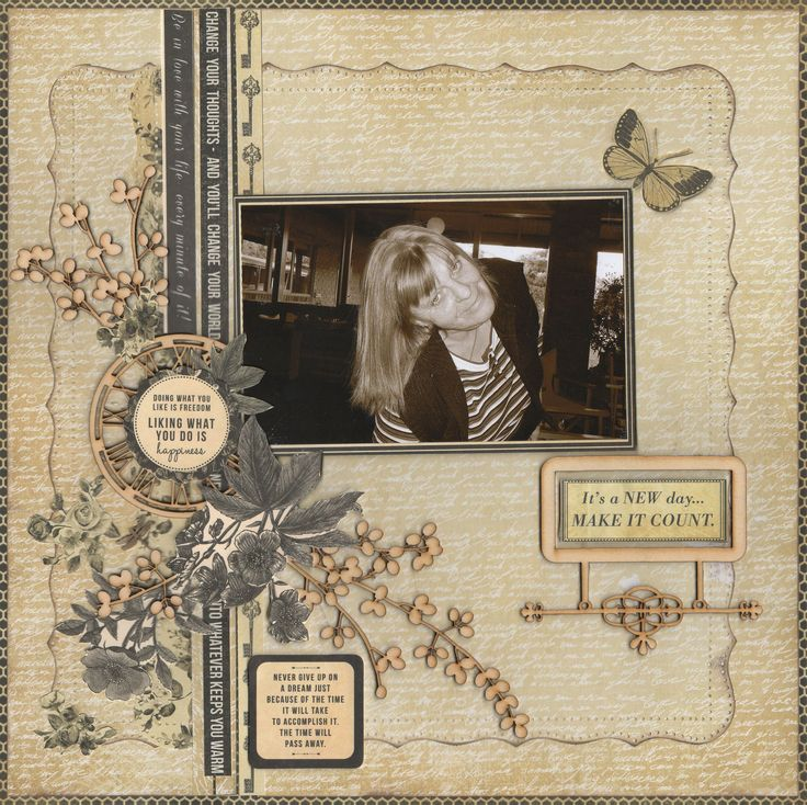 A New Day - Scrapbook.com Kaisercraft Papers Art Of Life, and Have used some of the Kaiser wooden Embellishments.