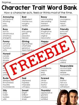 This downloads in English only. This character trait word bank is a great support tool for beginner writers. Not only does it give students ideas of character traits to use in their writing, but it also helps them understand what the traits mean by grouping similar traits together in the chart.