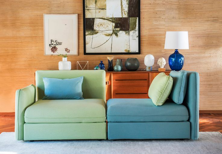 mid-century modern   turquoise and daiquiri   a perfectly styled sideboard   IKEA Vallentuna sectional with Bemz covers in RESPECT fabrics made out of 100% recycled material