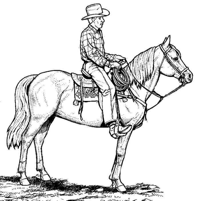 Realistic Cowboy Horse Coloring Page In 2020 Horse Coloring Pages Horse Coloring Animal Coloring Pages