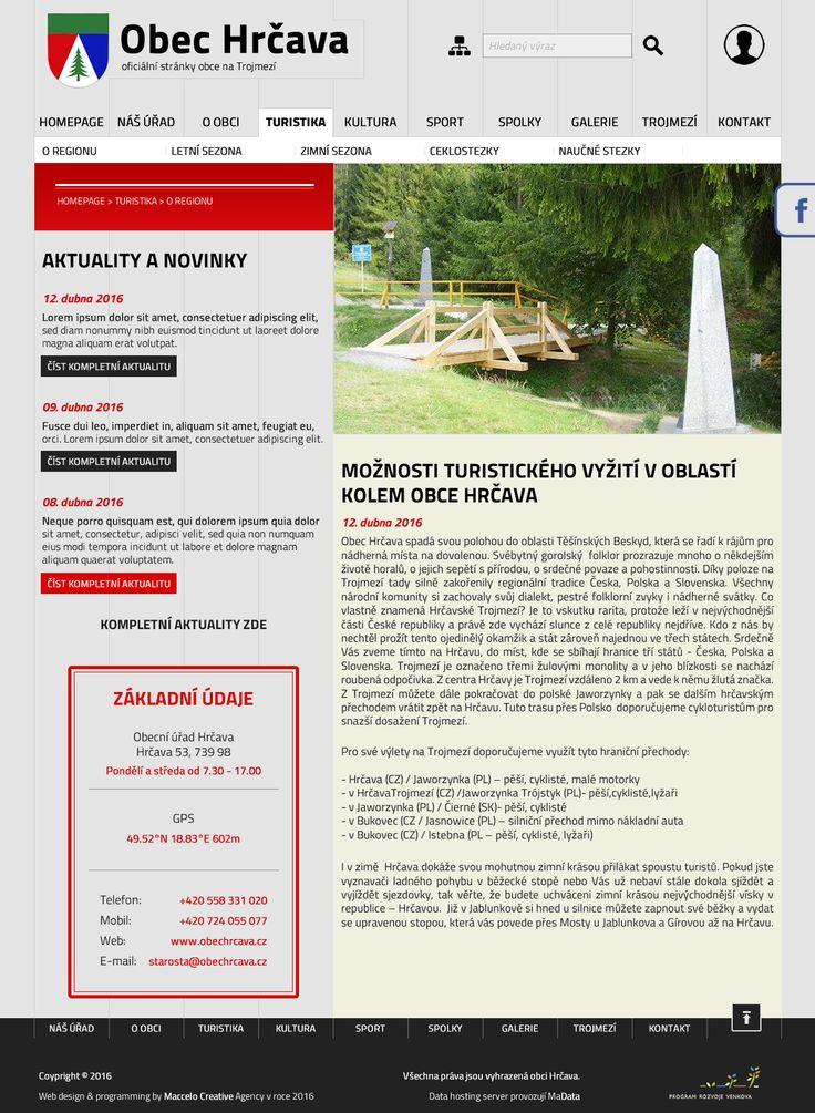Návrh webu pro obec Hrčava on Behance
