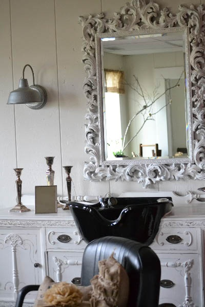 My unique salon that I have incorperated into my upcycled furniture boutique. All furniture is painted and finished right her at Painted Farmgirl. The sink was mounted into an antique buffet that was given to me from my parents. My clients love the fresh clean environment and can shop while recieving my salon services. Check me out at Painted Farmgirl on Facebook.