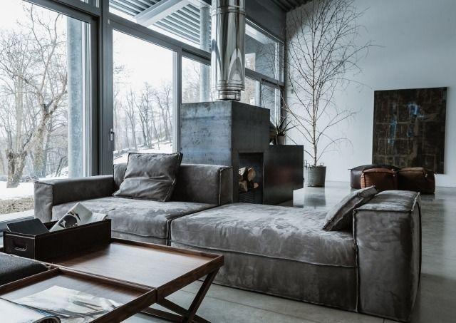 Lovely industrial chic Wohnzimmer Samtig Sofa Indoor kamin mit abgasf hrung