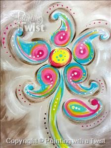 paisley flower painting with a twist $35