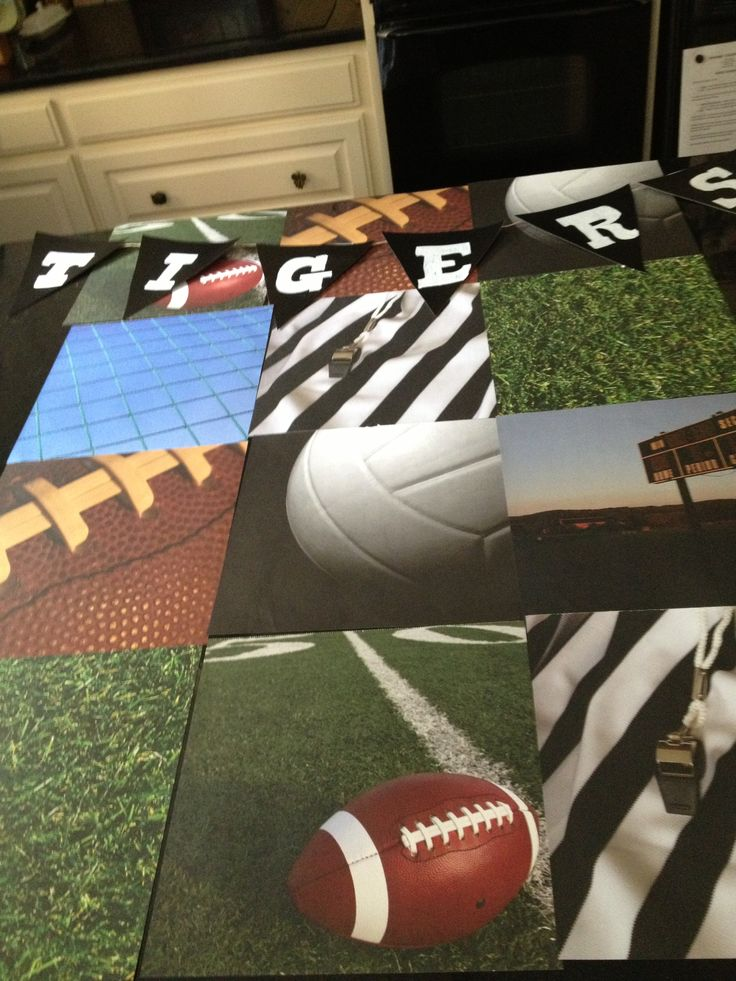 Sports bulletin board using scrapbook paper