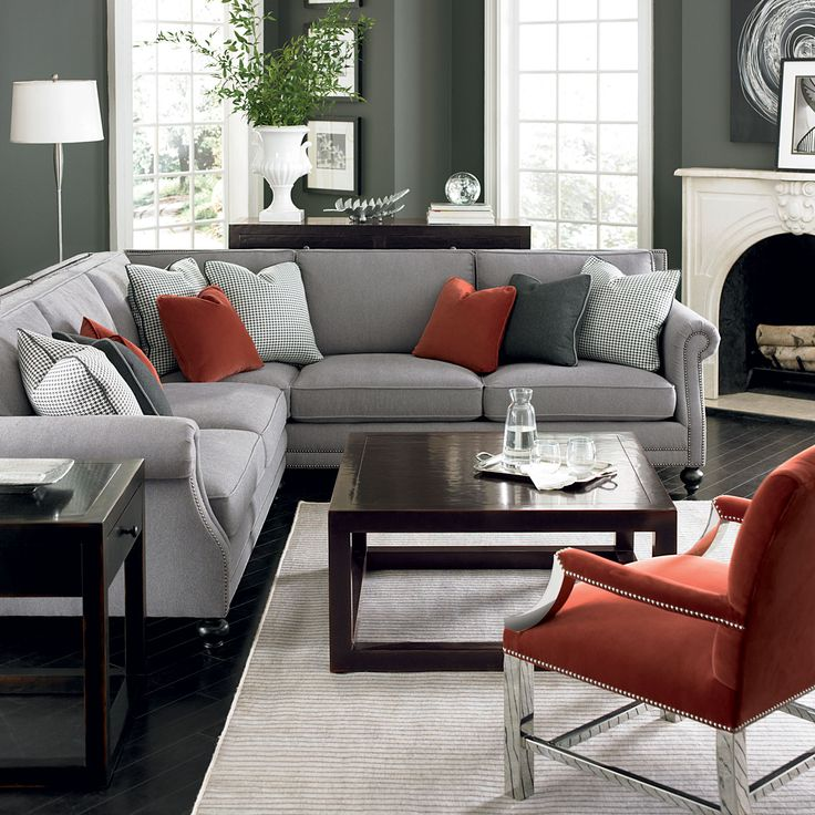 Bernhardt living room in grey, red, and silver. Brae Sectional