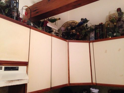 What can I do to make my awful melamine cabinets look less awful? | Hometalk