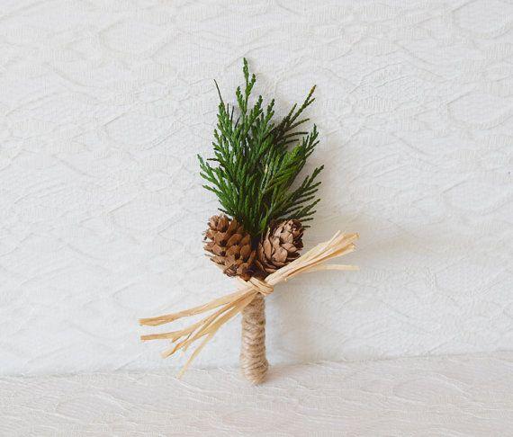 Wedding Boutonniere, groomsmen button hole, winter weddings, woodland rustic boutonniere, dried flower keepsake - FIR - (1 x buttonhole)
