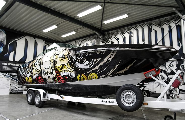 Skulls Boatwrapping #signmania #boatwrapping #boats #boatwrap #wrapping #boat #design - www.signmania.com