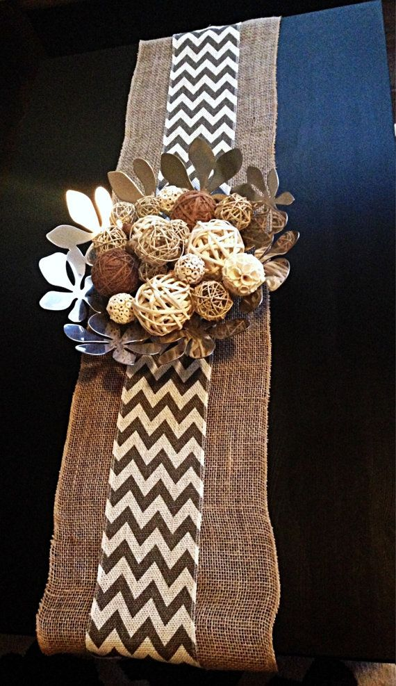 Burlap Chevron Table Runner--- This is what I am thinking but in my mint/pink colors!!