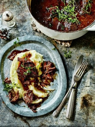 Beef cheeks in red wine - except for the evil parsnips pretending to be mashed potato