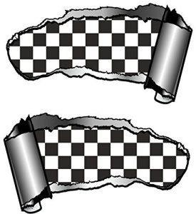 Paire de gaucher Design Torn usés ouvert coupure Effet métal Voiture Sticker pour révéler Carreaux Noir et Blanc Drapeau à Damier Design…