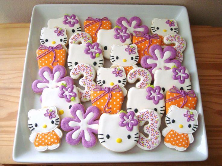 Cute Hello Kitty cookies by SugarBliss Cookies