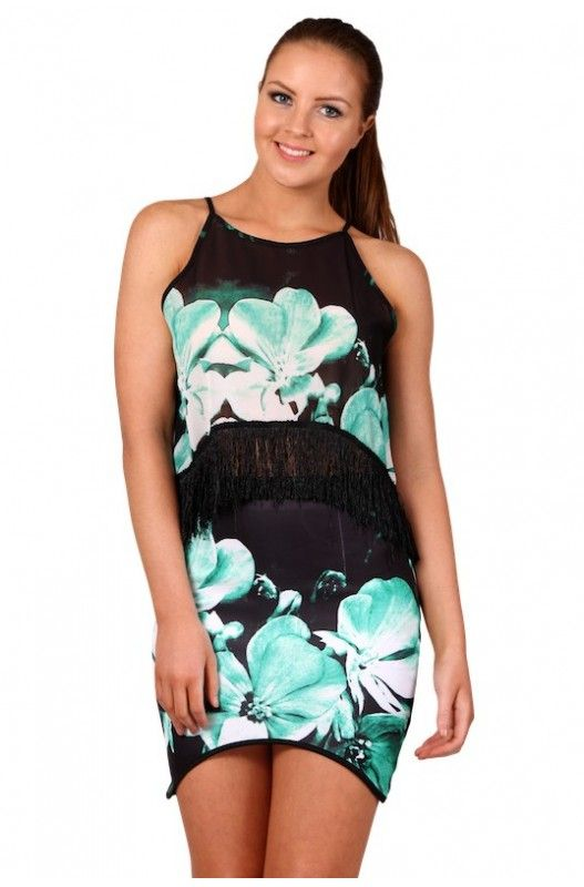 Black Forest Skirt- Beautiful green leaf printed skirt! Assymetrical curved hemline! Hidden zip!