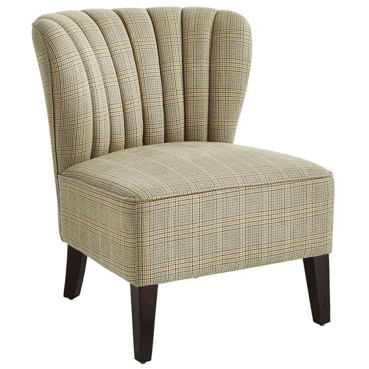 Upholstered Emille Chair   Belmont Plaid