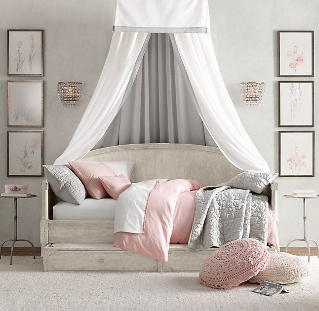 RH Baby & Child's Framed Linen-Cotton Bed Canopy:A custom design served as the inspiration for our Framed Linen-Cotton Bed Canopy. Its small footprint, box-pleated valance and softly layered color lend tailored sophistication to a nursery or bedroom.