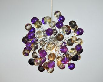 Violet Pendant Light with bubbles at Purple and Gray color for children room, dinning room, kitchen or bedroom.