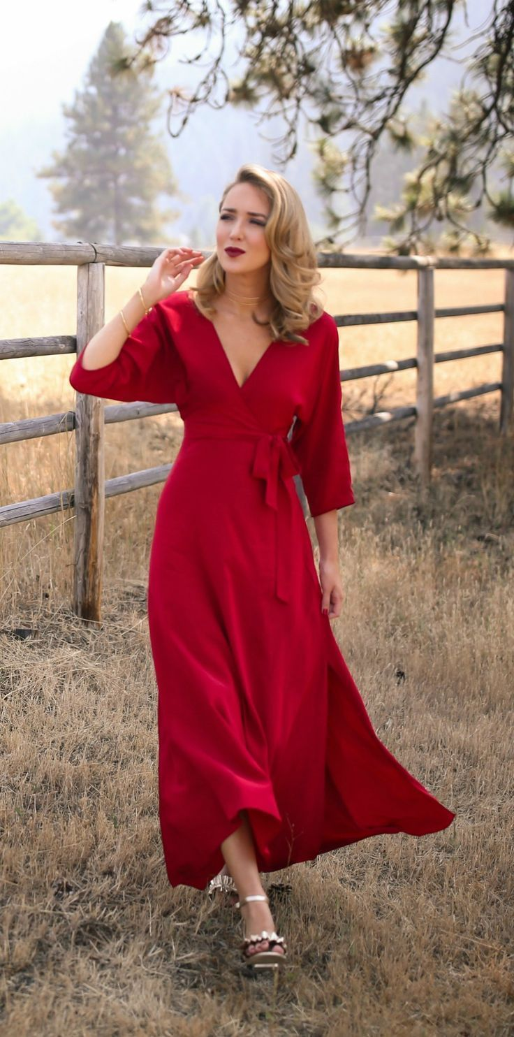 What to Wear to Fall Weddings // Red floor-length wrap dress, gold ruffle sandals, multirow choker, circle drop earrings, gold bangles {Diane Von Furstenberg, Marks & Spencer, Argento Vivo, Armani, fall wedding style}