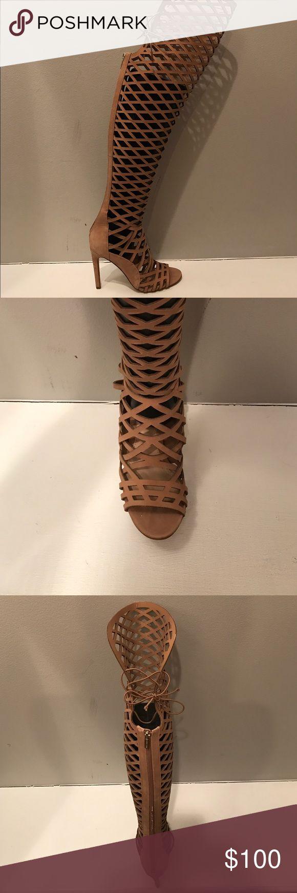 Vince Camuto Keliana knee high cage heel sandal in tan suede. FIERCE shoe! Vince Camuto Shoes Heels