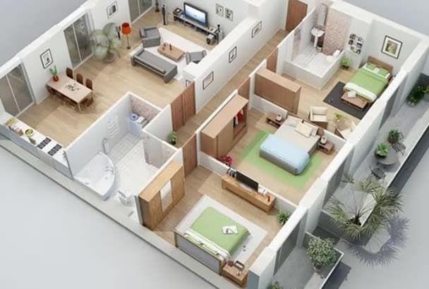 Awsome 2d Floor Plan 3d Floor Plan Fastest 3d House Plans House Construction Plan My House Plans