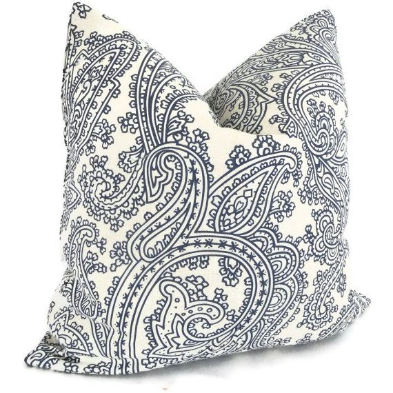 Blue And White Linen Paisley Decorative Pillow Cover By