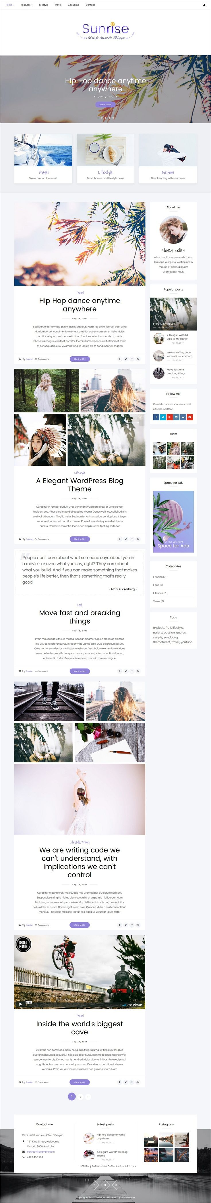 Sunrise is an elegant and modern design responsive #WordPress theme for #blog and #magazine websites with multiple homepage layouts download now..