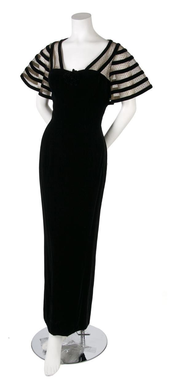Black Velvet Evening Gown, 1930's