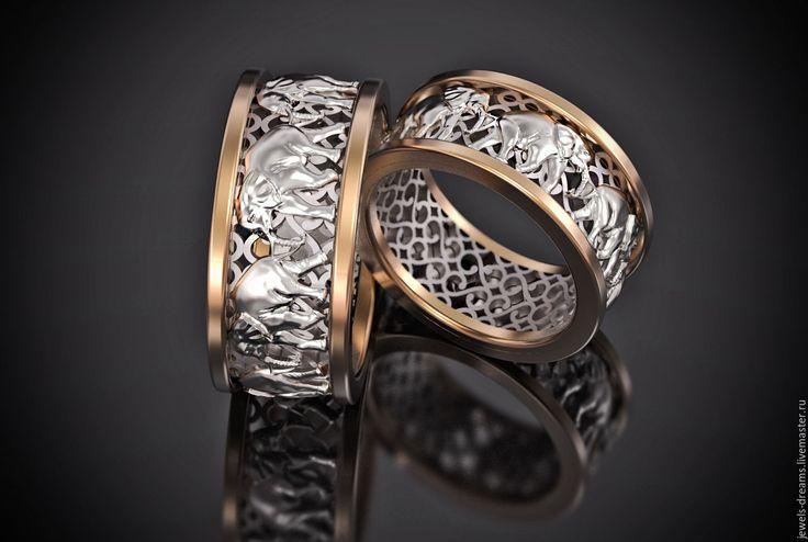 """Купить Обручальное кольцо """"Индийское"""" - золотой, обручальные кольца, золотые кольца, кольца со слонами"""