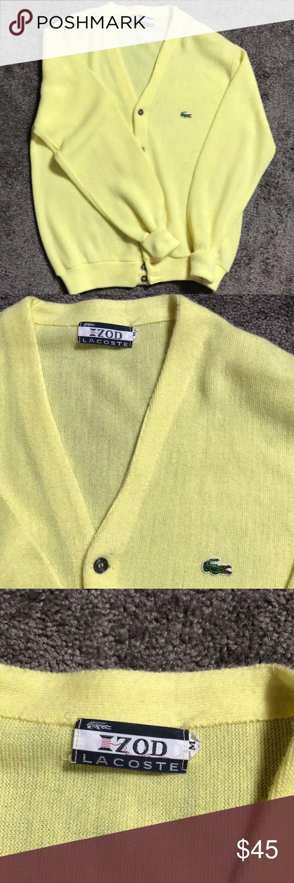 Vintage 70s IZOD Lacoste Cardigan Sweater M EUC Vintage Cardigan  Gray Pearled Buttons Lacoste Sweaters Cardigan