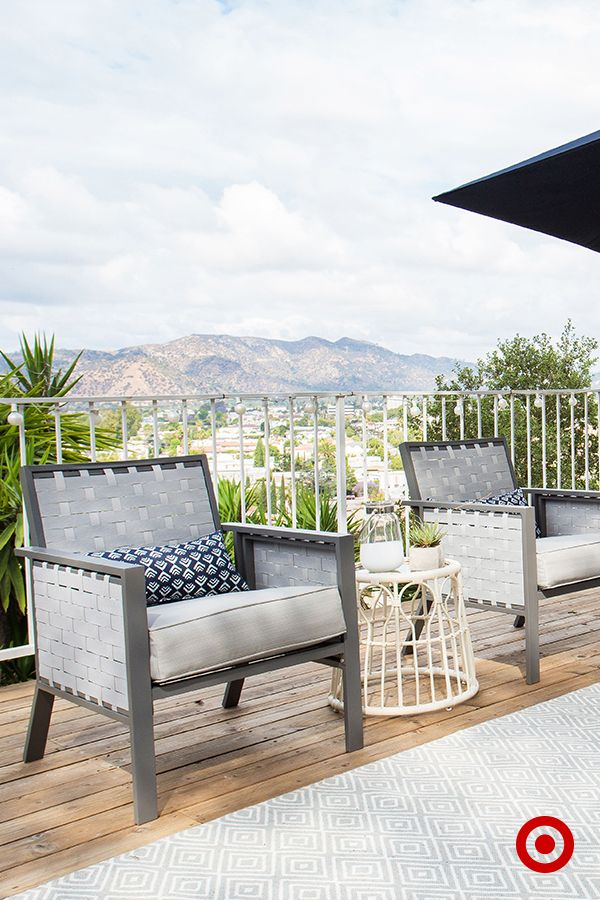 Accessorize a patio with outdoor versions of all of your indoor faves. Pillows, area rugs and side tables create an inviting space that's equally good for entertaining as it is for relaxing.