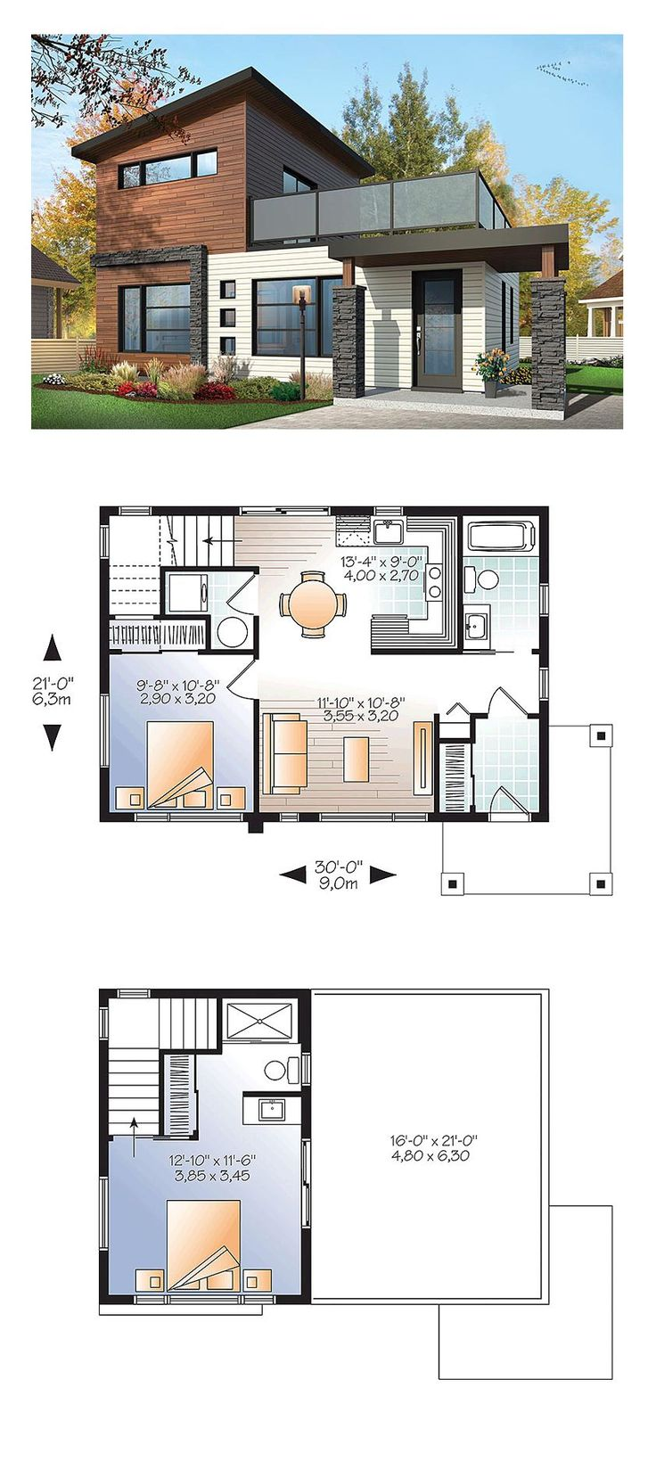 Modern House Plan 76461 | Total Living Area: 924 sq. ft., 2 bedrooms and 2 bathrooms. #modernhome