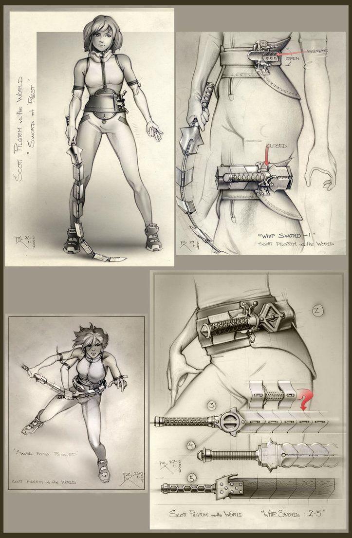 "Final whip sword concept -""Scott pilgrim vs the World"" pencil and photoshop…"